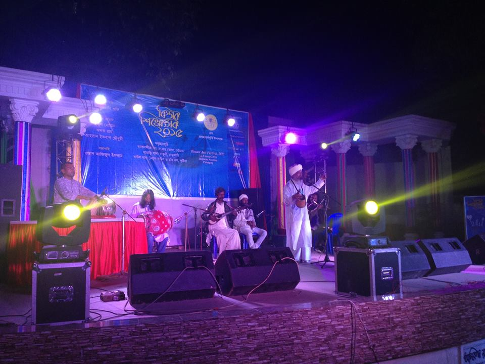 The famous Baul singer Tuntun Fakir of Kushtia and his troupe performing spiritual songs of Lalon Fakir.